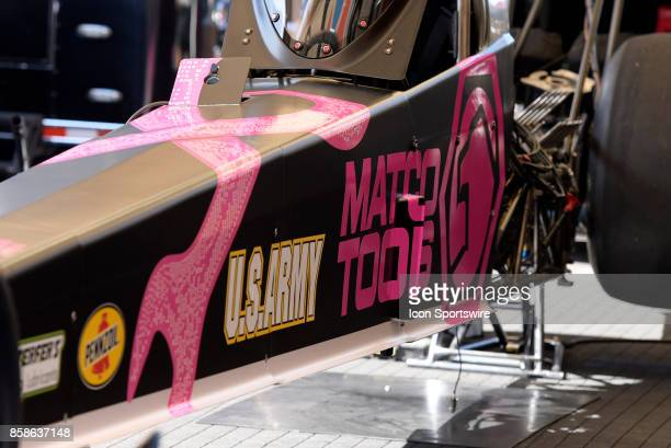 MADISON IL Antron Brown Don Schumacher Racing NHRA Top Fuel Dragster sits in the pit are before the start of qualifying for the 6th annual AAA...