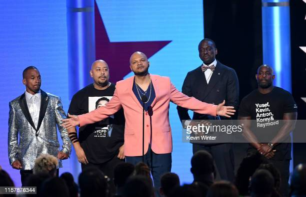 Antron McCray, Kevin Richardson, Raymond Santana, Korey Wise, and Yusef Salaam speak onstage at the 2019 BET Awards on June 23, 2019 in Los Angeles,...