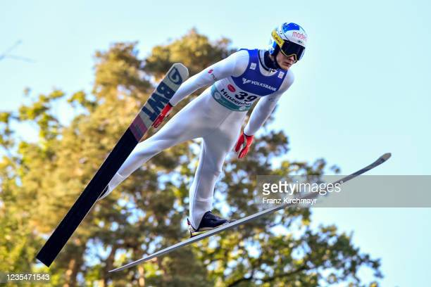Antti Aalto of Finland competes during the FIS Grand Prix Skijumping Hinzenbach at on February 6, 2021 in Eferding, Austria.
