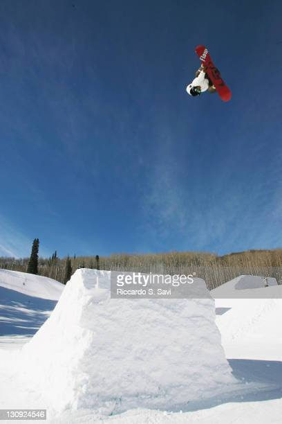 Antti Autti in action during the Snowboard Slopestyle Men's Practice at Winter X Games 11 at Buttermilk Mountain in Aspen Colorado on January 27 2007