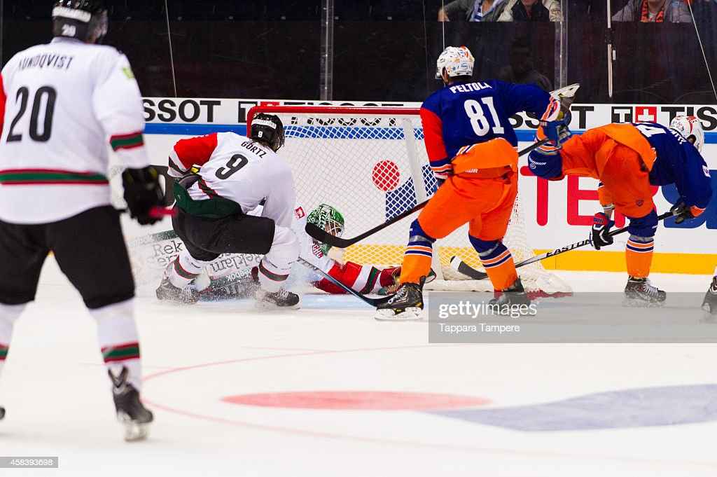 Antti Erkinjuntti of Tappara Tampere scores the only goal for the home team during the Champions Hockey League round of 16 first leg game between Tappara Tampere and Frolunda Gothenburg at Hakametsa on November 4, 2014 in Tampere, Finland.