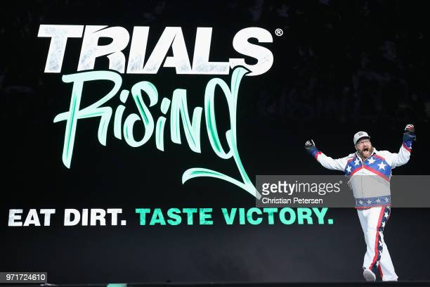 Antti Ilvessuo Creative Director at Ubisoft Redlynx reveals 'Trials Rising' during the Ubisoft E3 conference at the Orpheum Theater on June 11 2018...