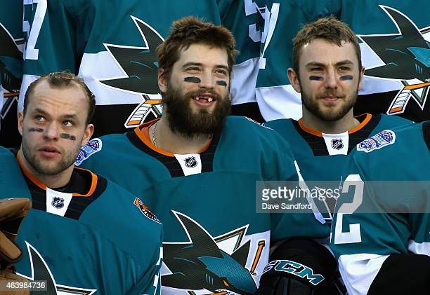 Antti Niemi Brent Burns and Barclay Goodrow of the San Jose Sharks meet for a team picture before practice for the 2015 Coors Light Stadium Series...