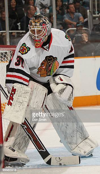 Antti Niemi of the Chicago Blackhawks guards the side of the net in Game One of the Western Conference Finals during the 2010 NHL Stanley Cup...