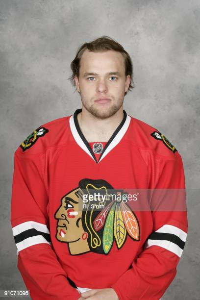 Antti Niemi of the Chicago Blackhawks poses for his official headshot for the 20092010 NHL season