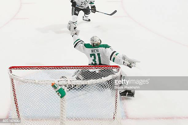 Antti Niemi of the Dallas Stars makes a glove save against the Minnesota Wild in Game Four of the Western Conference First Round during the 2016 NHL...