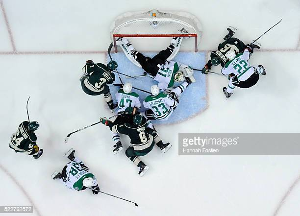 Antti Niemi of the Dallas Stars makes a save in net against the Minnesota Wild during the second period of Game Four of the Western Conference First...