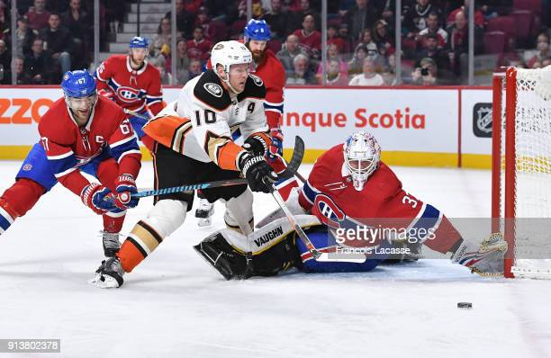 Antti Niemi of the Montreal Canadiens defends the goal against Corey Perry of the Anaheim Ducks in the NHL game at the Bell Centre on February 3 2018...