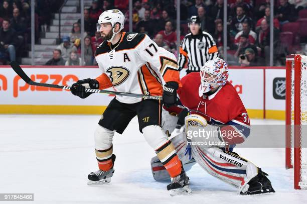 Antti Niemi of the Montreal Canadiens defends the goal against Ryan Kesler of the Anaheim Ducks in the NHL game at the Bell Centre on February 3 2018...