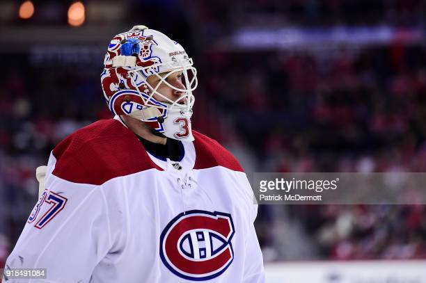Antti Niemi of the Montreal Canadiens in action against the Washington Capitals in the first period at Capital One Arena on January 19 2018 in...