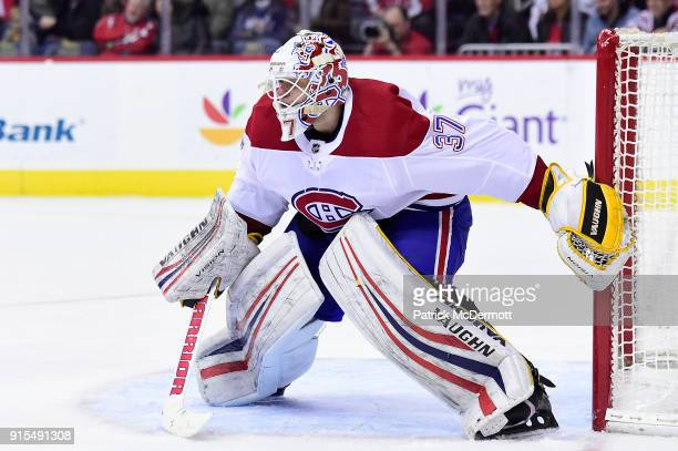Antti Niemi of the Montreal Canadiens in action in the third period against the Washington Capitals at Capital One Arena on January 19 2018 in...