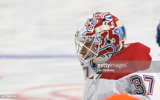 Antti Niemi of the Montreal Canadiens looks on during warmups against the Philadelphia Flyers on February 8 2018 at the Wells Fargo Center in...