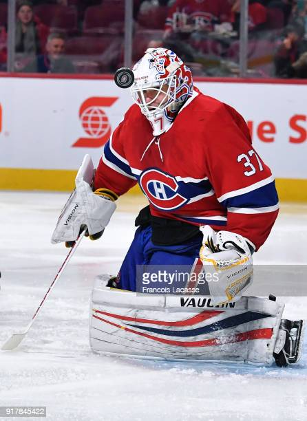 Antti Niemi of the Montreal Canadiens makes a pass against the Anaheim Ducks in the NHL game at the Bell Centre on February 3 2018 in Montreal Quebec...