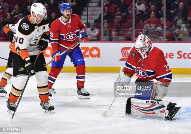 Antti Niemi of the Montreal Canadiens makes a save in front of Corey Perry of the Anaheim Ducks in the NHL game at the Bell Centre on February 3 2018...
