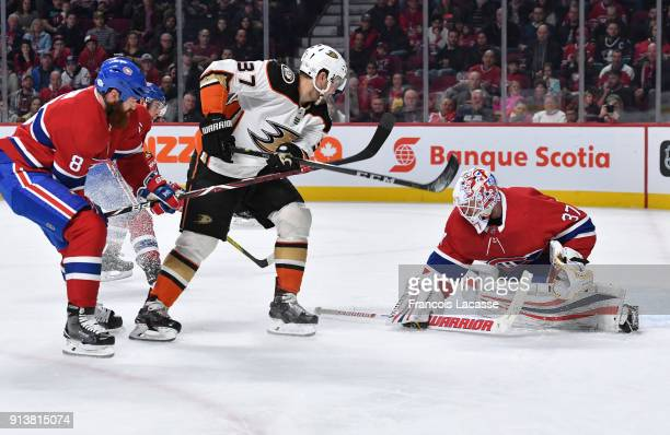 Antti Niemi of the Montreal Canadiens makes a save off the shot by Nick Ritchie of the Anaheim Ducks in the NHL game at the Bell Centre on February 3...