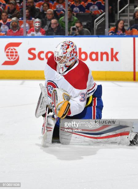 Antti Niemi of the Montreal Canadiens prepares to make a save during the game against the Edmonton Oilers on December 23 2017 at Rogers Place in...