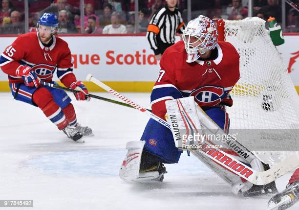 Antti Niemi of the Montreal Canadiens protects the net against the Anaheim Ducks in the NHL game at the Bell Centre on February 3 2018 in Montreal...
