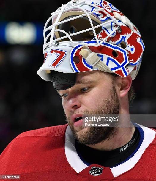 Antti Niemi of the Montreal Canadiens stand on the ice during the NHL game against the Anaheim Ducks at the Bell Centre on February 3 2018 in...