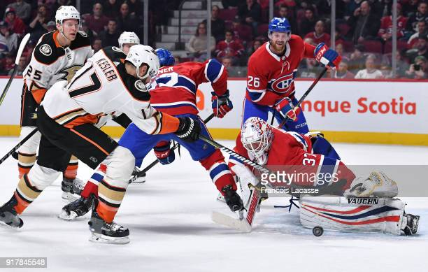 Antti Niemi of the Montreal Canadiens stops a shot by Ryan Kesler of the Anaheim Ducks in the NHL game at the Bell Centre on February 3 2018 in...