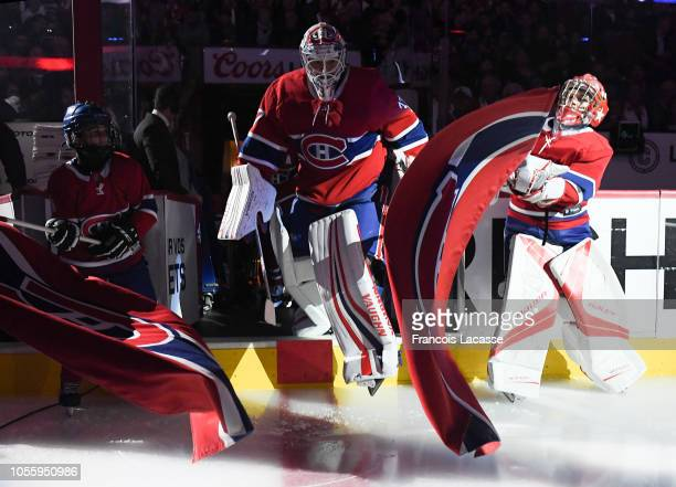 Antti Niemi of the Montreal Canadiens takes to the ice riot the NHL game against the Pittsburgh Penguins in the NHL game at the Bell Centre on...