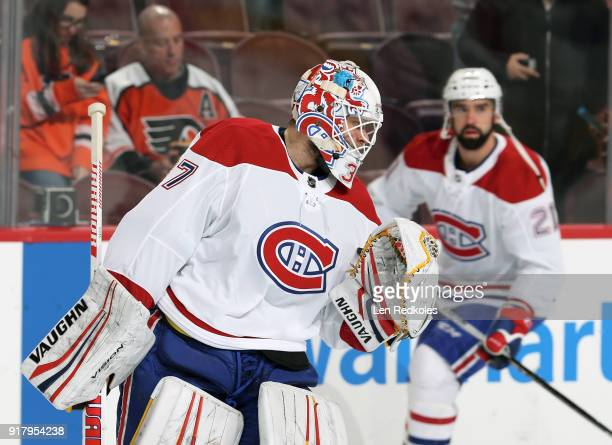 Antti Niemi of the Montreal Canadiens warms up against the Philadelphia Flyers on February 8 2018 at the Wells Fargo Center in Philadelphia...