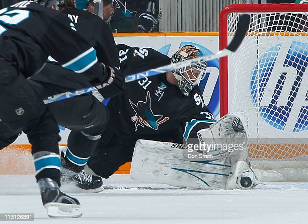 Antti Niemi of the San Jose Sharks gives up a rebound that was converted for a goal by the Los Angeles Kings in Game 5 of the Western Conference...