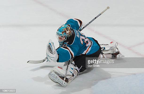 Antti Niemi of the San Jose Sharks makes a glove save against the Toronto Maple Leafs during an NHL game on January 11, 2011 at HP Pavilion at San...
