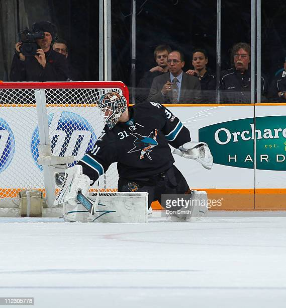Antti Niemi of the San Jose Sharks makes a save against the Los Angeles Kings in Game One of the Western Conference Quarterfinals during the 2011 NHL...