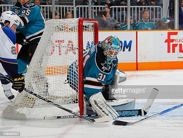 Antti Niemi of the San Jose Sharks makes a save against the St Louis Blues during an NHL game on January 15 2011 at HP Pavilion at San Jose in San...