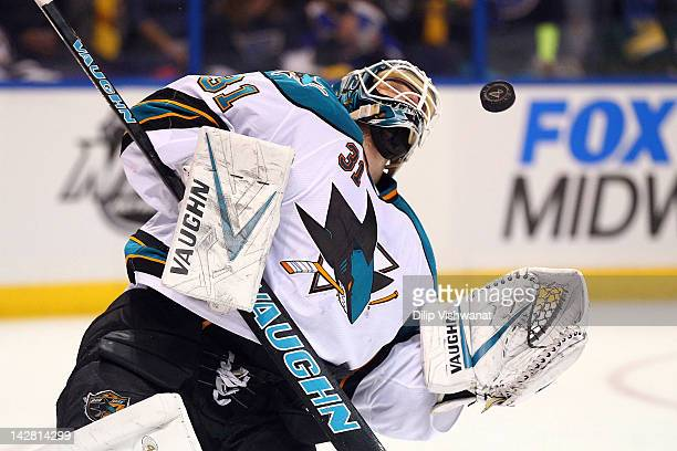 Antti Niemi of the San Jose Sharks makes a save against the St Louis Blues during Game One of the Western Conference Quarterfinals during the 2012...