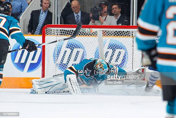 Antti Niemi of the San Jose Sharks makes a save against the Toronto Maple Leafs during an NHL game on January 11, 2011 at HP Pavilion at San Jose in...