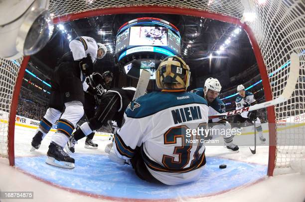 Antti Niemi of the San Jose Sharks makes the save against the Los Angeles Kings in Game One of the Western Conference Semifinals during the 2013 NHL...