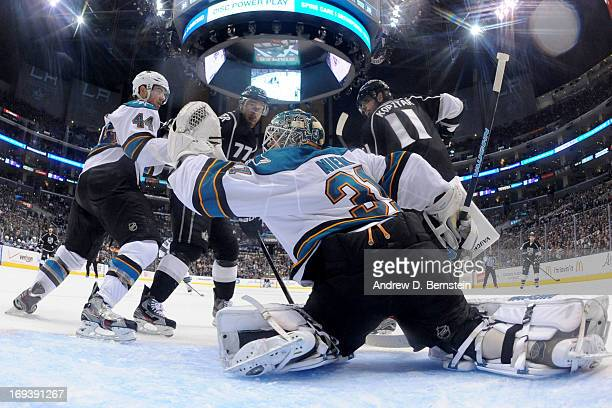 Antti Niemi of the San Jose Sharks makes the save against the Los Angeles Kings in Game Five of the Western Conference Semifinals during the 2013 NHL...