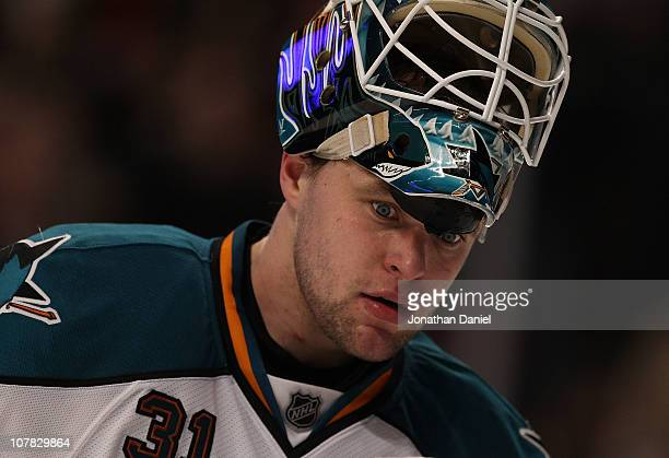 Antti Niemi of the San Jose Sharks reacts to playing the Chicago Blackhawks at the United Center on December 30 2010 in Chicago Illinois