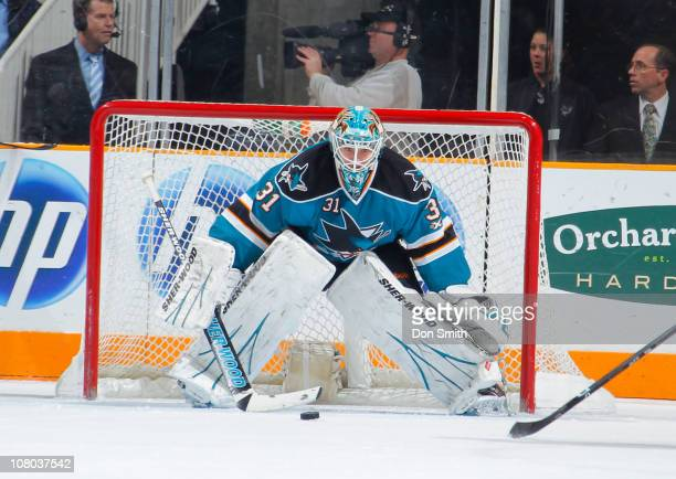 Antti Niemi of the San Jose Sharks watches the puck against the Toronto Maple Leafs during an NHL game on January 11, 2011 at HP Pavilion at San Jose...