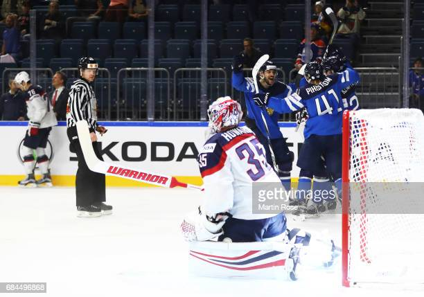 Antti Pihlstrom of Finland celebrates with team mates after Finland scored their second goal during the 2017 IIHF Ice Hockey World Championship...