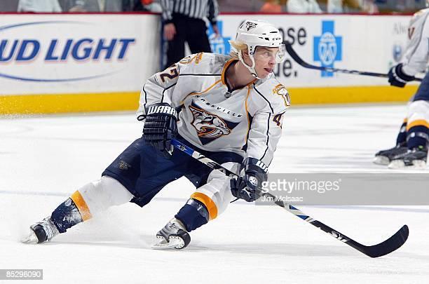 Antti Pihlstrom of the Nashville Predators skates against the Philadelphia Flyers on March 7 2009 at Wachovia Center in Philadelphia Pennsylvania The...