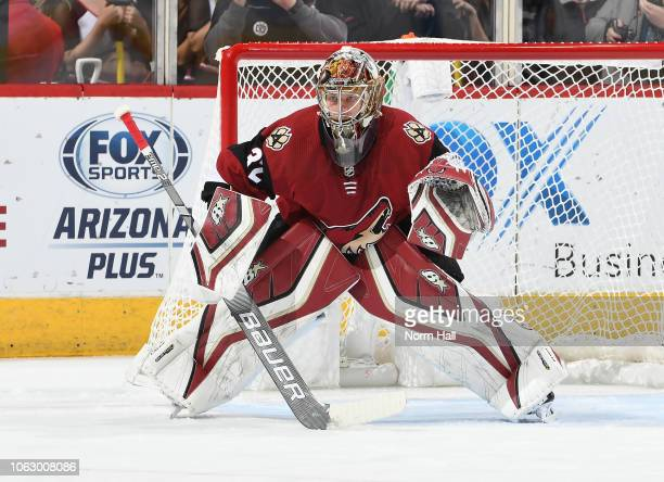Antti Raanta of the Arizona Coyotes gets ready to make a save against the Carolina Hurricanes at Gila River Arena on November 2 2018 in Glendale...
