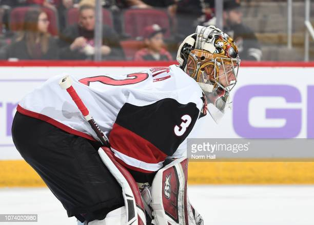 Antti Raanta of the Arizona Coyotes gets ready to make a save against the Calgary Flames at Gila River Arena on November 25 2018 in Glendale Arizona