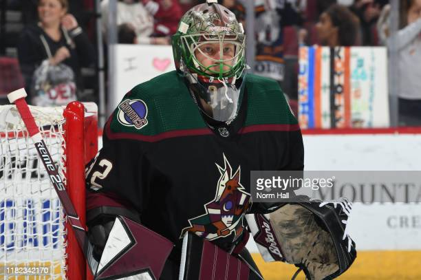 Antti Raanta of the Arizona Coyotes gets ready to make a save against the Ottawa Senators at Gila River Arena on October 19 2019 in Glendale Arizona
