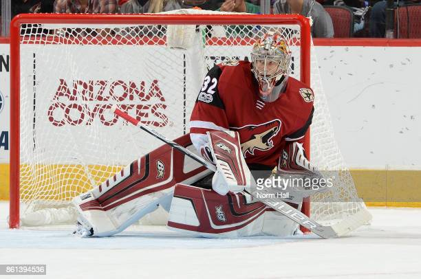 Antti Raanta of the Arizona Coyotes gets ready to make a save against the Detroit Red Wings at Gila River Arena on October 12 2017 in Glendale Arizona