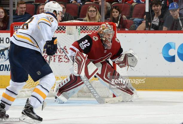 Antti Raanta of the Arizona Coyotes gets ready to make a save against the Buffalo Sabres at Gila River Arena on November 2 2017 in Glendale Arizona