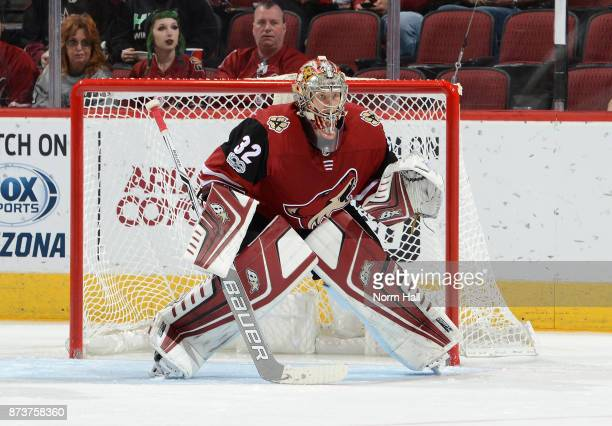 Antti Raanta of the Arizona Coyotes gets ready to make a save against the Winnipeg Jets at Gila River Arena on November 11 2017 in Glendale Arizona
