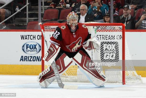Antti Raanta of the Arizona Coyotes gets ready to make a save against the San Jose Sharks at Gila River Arena on November 22 2017 in Glendale Arizona
