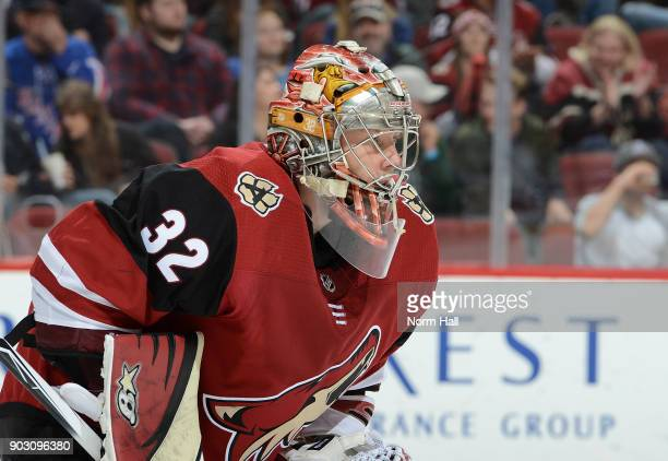 Antti Raanta of the Arizona Coyotes gets ready to make a save against the New York Rangers at Gila River Arena on January 6 2018 in Glendale Arizona