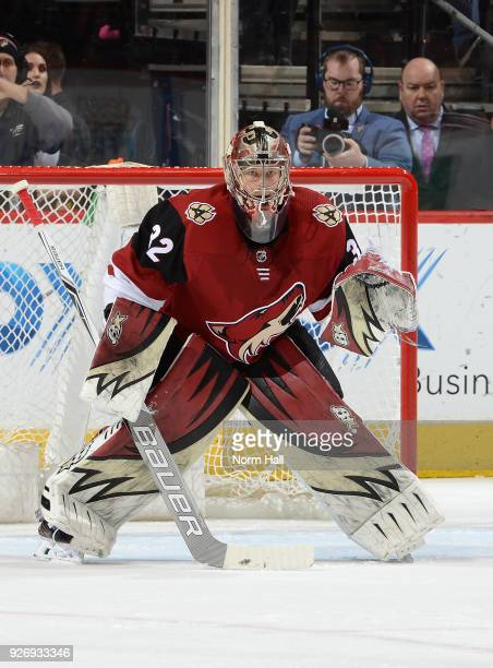 Antti Raanta of the Arizona Coyotes gets ready to make a save against the Minnesota Wild at Gila River Arena on March 1 2018 in Glendale Arizona