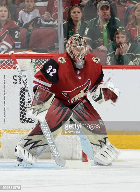 Antti Raanta of the Arizona Coyotes gets ready to make a save against the Minnesota Wild at Gila River Arena on March 17 2018 in Glendale Arizona