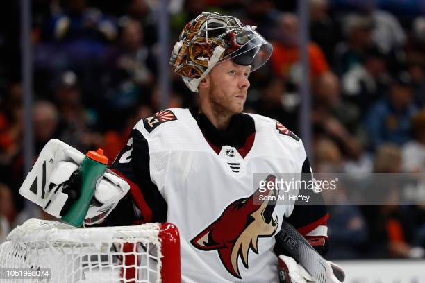 Antti Raanta of the Arizona Coyotes looks on during the third period of a game against the Anaheim Ducks at Honda Center on October 10 2018 in...