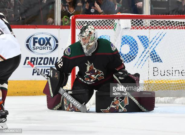 Antti Raanta of the Arizona Coyotes looks to make a save against the Anaheim Duck at Gila River Arena on October 6 2018 in Glendale Arizona