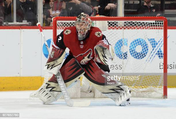 Antti Raanta of the Arizona Coyotes looks to make a save against the Ottawa Senators at Gila River Arena on March 3 2018 in Glendale Arizona